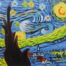 "Hand painted oil painting on canvas""Starry sky""30x40CM(12""x16"")Unframed-68"