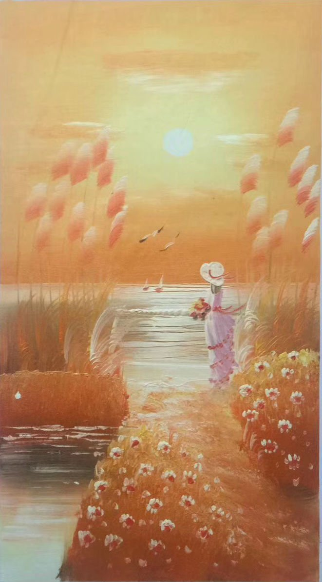 """Hand painted oil painting on canvas""""distance""""30x60CM(12""""x24"""")Unframed-80"""