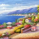 "Hand painted oil painting on canvas""Sea view Villa""70x180CM(27.6""x70.9"")Unframed-82"