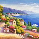 """Hand painted oil painting on canvas""""Sea view Villa""""70x180CM(27.6""""x70.9"""")Unframed-83"""