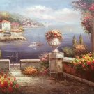"""Mediterranean Hand painted oil painting on canvas""""Sea view Villa""""60x90CM(23.6""""x35.4"""")Unframed-87"""