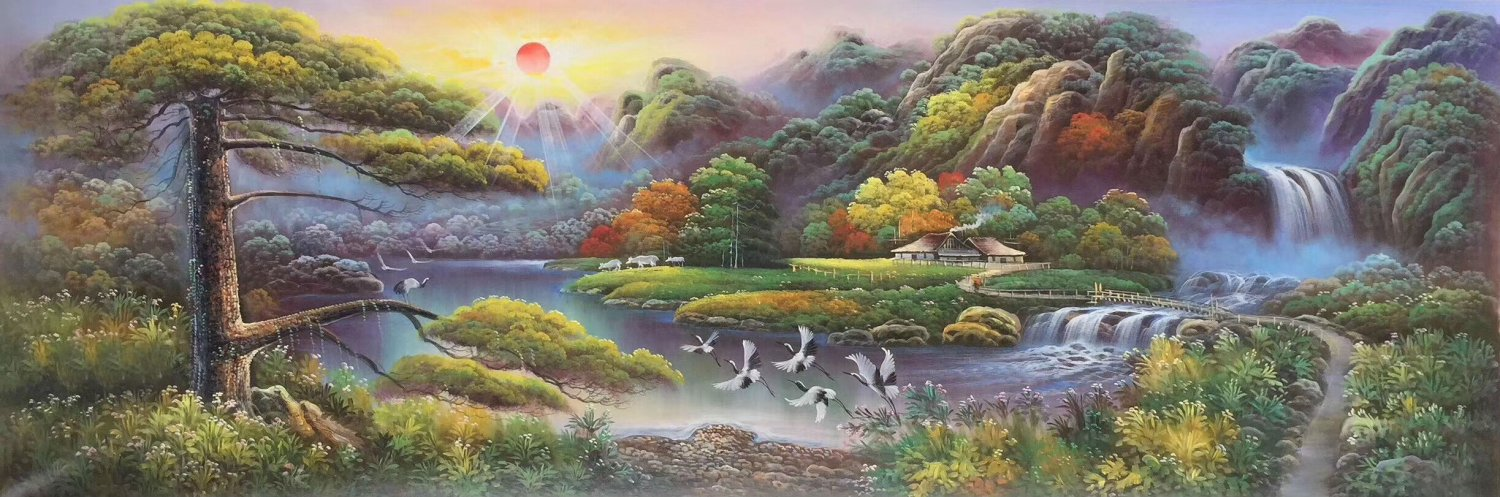 """Hand painted oil painting on canvas""""Creek""""80x240CM(33""""x96"""")Unframed-382"""
