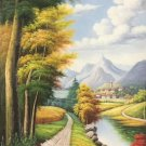 """Hand painted oil painting on canvas""""Creek""""60x120CM(23.6""""x47.2"""")Unframed-385"""