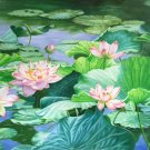 "Chinese style Hand painted oil painting on canvas""lotus""70x180CM(30""x72"")Unframed-77"