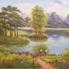 """American style Hand painted oil painting on canvas""""Creek""""70x180CM(27.6""""x70.9"""")Unframed-395"""