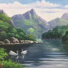 """American style Hand painted oil painting on canvas""""Creek""""70x180CM(27.6""""x70.9"""")Unframed-398"""