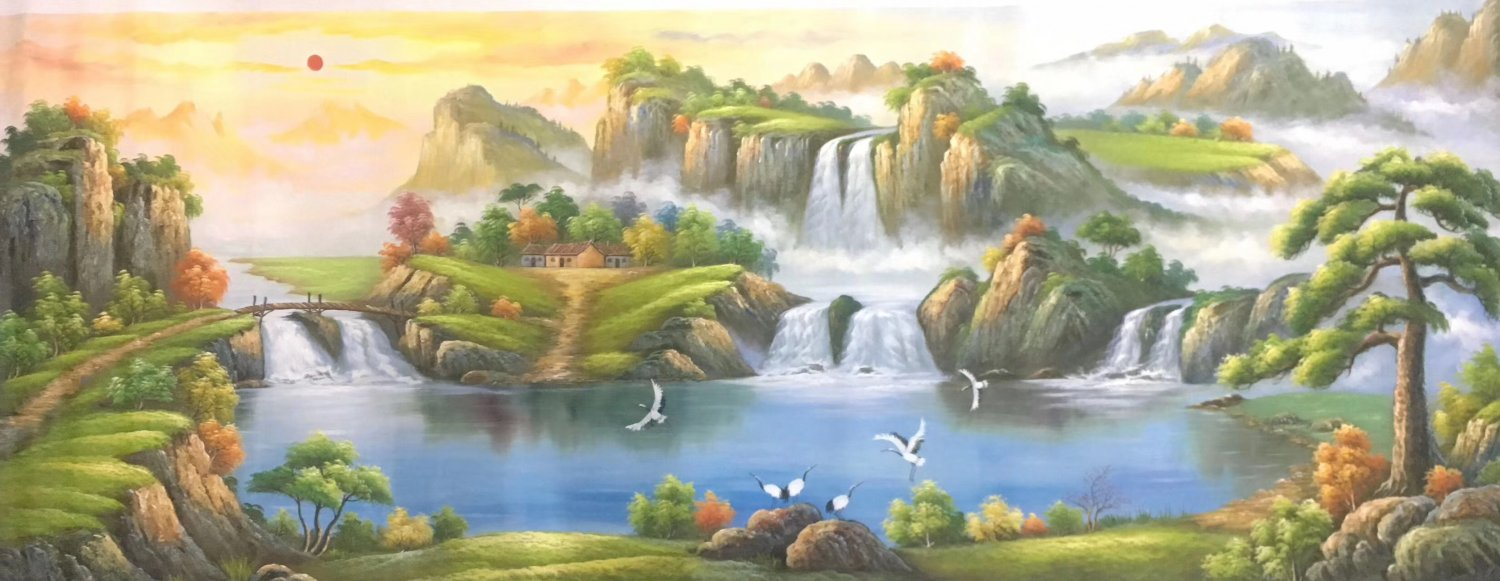 """American style Hand painted oil painting on canvas""""Creek""""70x180CM(27.6""""x70.9"""")Unframed-447"""