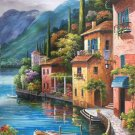 "Mediterranean Hand painted oil painting on canvas""Sea view Villa""60x90CM(23.6""x35.4"")Unframed-92"