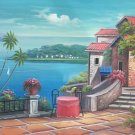 """Mediterranean Hand painted oil painting on canvas""""Sea view Villa""""60x90CM(23.6""""x35.4"""")Unframed-94"""