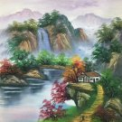 "Hand painted oil painting on canvas""Creek""50x60CM(19.7""x23.6"")Unframed-468"
