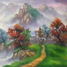 """Hand painted oil painting on canvas""""Creek""""50x60CM(19.7""""x23.6"""")Unframed-472"""