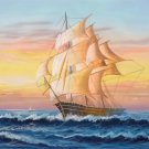"""Simple modern Hand painted oil painting on canvas""""Adventure sailboat""""60x120CM(24""""x48"""")Unframed-67"""