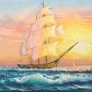 """Simple modern Hand painted oil painting on canvas""""Adventure sailboat""""60x120CM(24""""x48"""")Unframed-69"""