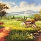 """American style Hand painted oil painting on canvas""""Creek""""70x180CM(27.6""""x70.9"""")Unframed-505"""