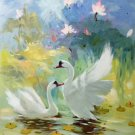 "Simple modern Hand painted oil painting on canvas""Cute duck""50x60CM(20""x24"")Unframed-06"