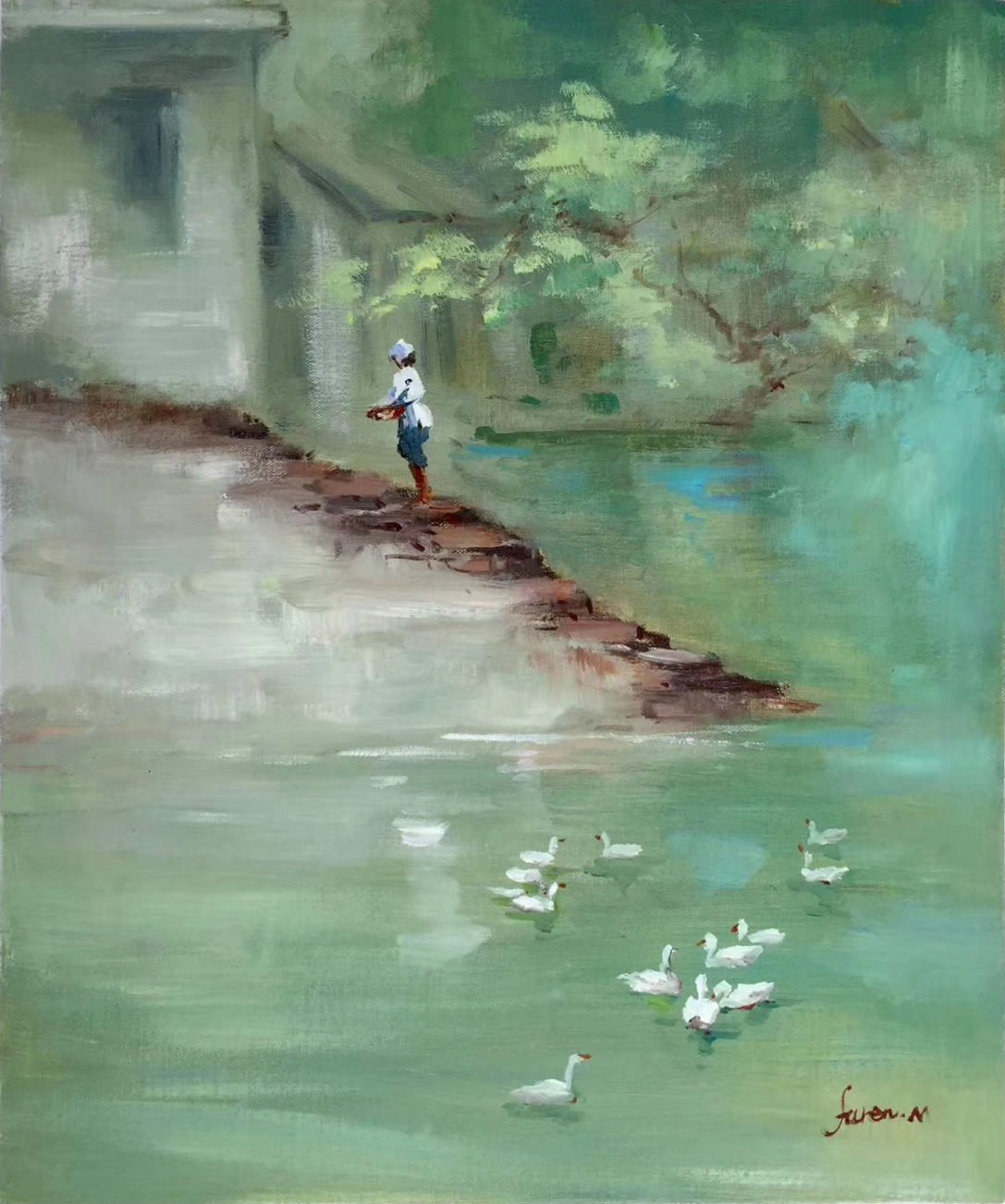 """Simple modern Hand painted oil painting on canvas""""Cute duck""""50x60CM(20""""x24"""")Unframed-08"""