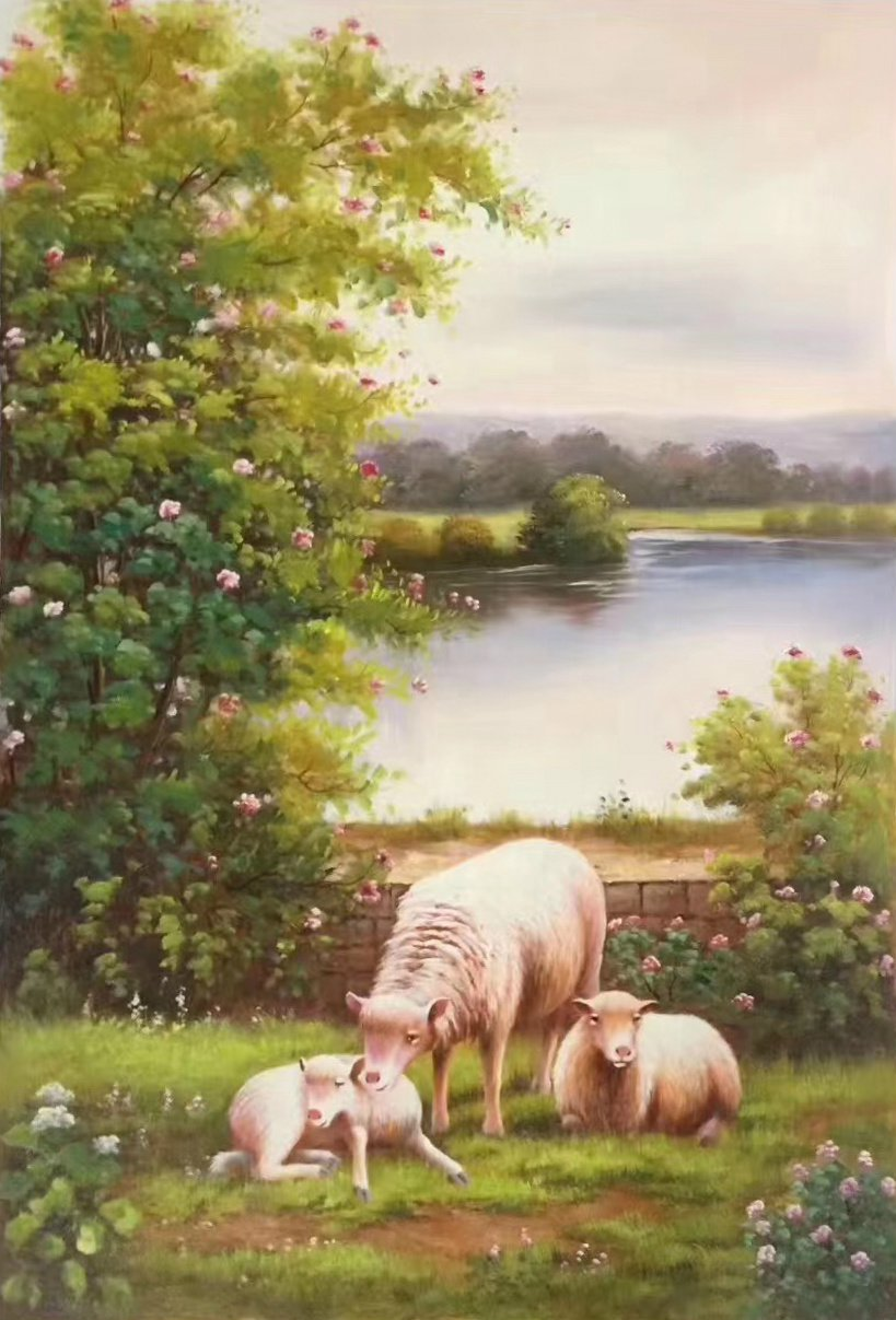 """Simple modern Hand painted oil painting on canvas""""Sheep""""60x90CM(24""""x36"""")Unframed-23"""