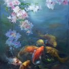 """Chinese style Hand painted oil painting on canvas""""carp""""60x90CM(24""""x36"""")Unframed-20"""