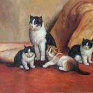 "Simple modern Hand-painted oil painting on canvas""Cute cat""60x90CM(24""x36"")Unframed-04"