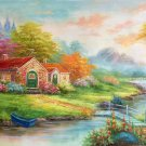 """Hand painted oil painting on canvas""""Creek""""60x120CM(23.6""""x47.2"""")Unframed-513"""