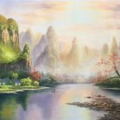 "Hand painted oil painting on canvas""Creek""60x120CM(23.6""x47.2"")Unframed-515"