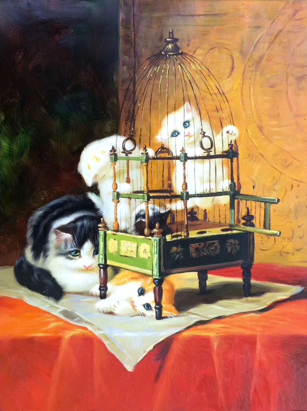 """Simple modern Hand-painted oil painting on canvas""""Cute cat""""30x40CM(12""""x16"""")Unframed-07"""