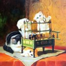 "Simple modern Hand-painted oil painting on canvas""Cute cat""30x40CM(12""x16"")Unframed-07"