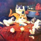 """Simple modern Hand-painted oil painting on canvas""""Cute cat""""30x40CM(12""""x16"""")Unframed-09"""
