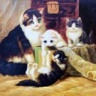 """Simple modern Hand-painted oil painting on canvas""""Cute cat""""30x40CM(12""""x16"""")Unframed-11"""