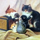 "Simple modern Hand-painted oil painting on canvas""Cute cat""30x40CM(12""x16"")Unframed-12"