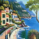 """Hand painted oil painting on canvas""""Sea view Villa""""60x120CM(23.6""""x47.2"""")Unframed-95"""
