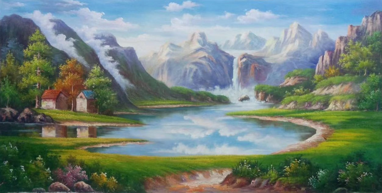"""Hand painted oil painting on canvas""""Creek""""60x120CM(23.6""""x47.2"""")Unframed-572"""