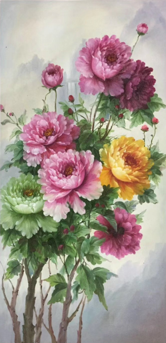 """Hand painted oil painting on canvas""""Peony""""60x120CM(24""""x48"""")Unframed-43"""