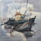 """Simple modern Hand painted oil painting on canvas""""Fishing boat""""50x60CM(19.7""""x23.6"""")Unframed-77"""