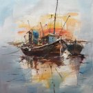 """Simple modern Hand painted oil painting on canvas""""Fishing boat""""50x60CM(19.7""""x23.6"""")Unframed-79"""