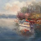 """Simple modern Hand painted oil painting on canvas""""Fishing boat""""50x60CM(19.7""""x23.6"""")Unframed-83"""
