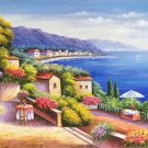 "Hand painted oil painting on canvas""Sea view Villa""70x180CM(27.6""x70.9"")Unframed-103"