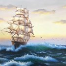 """Hand painted oil painting on canvas""""Adventure sailboat""""70x180CM(27.6""""x70.9"""")Unframed-87"""