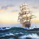 """Hand painted oil painting on canvas""""Adventure sailboat""""70x180CM(27.6""""x70.9"""")Unframed-89"""