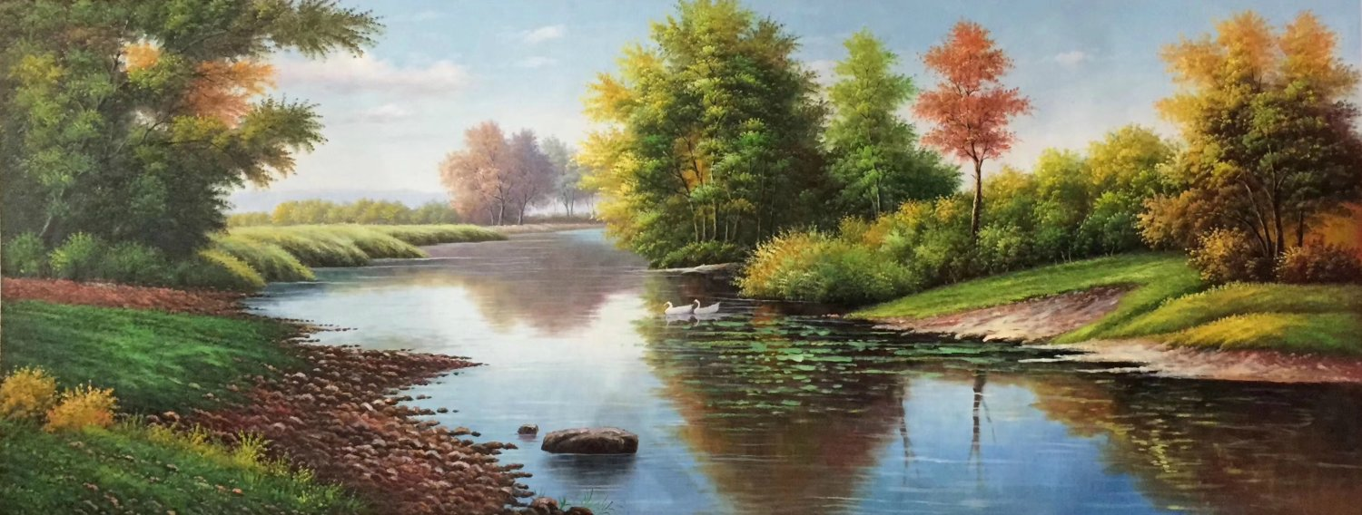 """American style Hand painted oil painting on canvas""""Creek""""70x180CM(27.6""""x70.9"""")Unframed-589"""