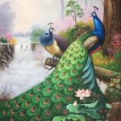 """Simple modern Hand painted oil painting on canvas""""Gorgeous peacock""""80x160CM(33""""x63"""")Unframed-88"""