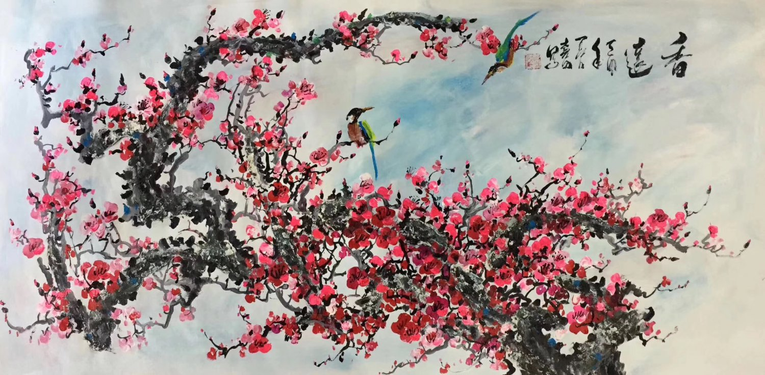 """Hand painted oil painting on canvas""""Plum blossom""""60x120CM(24""""x48"""")Unframed-115"""