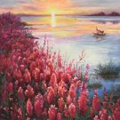 """Hand painted oil painting on canvas""""Creek""""60x120CM(23.6""""x47.2"""")Unframed-597"""