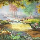 "Hand painted oil painting on canvas""Creek""80x200CM(33""x79"")Unframed-603"