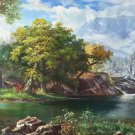 "Hand painted oil painting on canvas""Creek""80x200CM(33""x79"")Unframed-604"