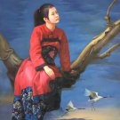 """Chinese style Hand painted oil painting on canvas""""Chinese beauty""""90x120CM(36""""x48"""")Unframed-54"""
