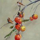"""Hand painted oil painting on canvas""""persimmon and birds""""50x60CM(20""""x24"""")Unframed-29"""