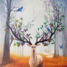 "Hand painted oil painting on canvas""The King Of Milu Deer""60x90CM(23.6""x35.4"")Unframed-19"