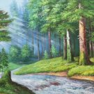 """American style Hand painted oil painting on canvas""""Creek""""70x180CM(27.6""""x70.9"""")Unframed-611"""