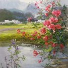 """Hand painted oil painting on canvas""""Image of the countryside""""60x120CM(23.6""""x47.2"""")Unframed-176"""